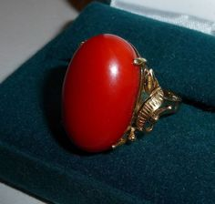 18k Rose Gold Italian Red Coral Ring from bejewelled on Ruby Lane