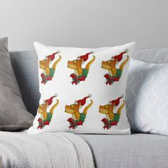 """""""Christmas Cat"""" Throw Pillow by Jokertoons   Redbubble Cat Throw, Christmas Cats, Designer Throw Pillows, Pillow Design, Top Artists, Cat Lovers"""