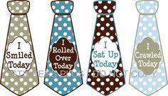 Baby Boy First 1st Milestones Birthday Age Tee Shirt Stickers Necktie UNCUT - Blue Brown Dots - Nice Shower Gift