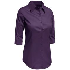 I need more button-downs in my life – but they have to be short sleeve or 3/4 sleeve because of the climate. Love this purple!   LE3NO Womens Roll Up 3/4 Sleeve Button Down Shirt with Stretch ($15) ❤ liked on Polyvore featuring tops, purple button up shirt, purple shirt, three quarter sleeve tops, button up shirts and purple top