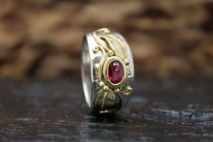 12mm wide Ruby ring. One of a kind.
