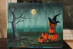 Halloween Pumpkin Man painting inspired by Cinnamon Cooney the Art Sherpa