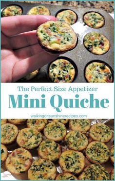Mini Spinach and Cheese Quiche the perfect size Appetizer from Walking on Sunshine Recipes Cheese Quiche, Spinach And Cheese, Quiche Cups, Spinach Quiche, Easy Appetizer Recipes, Appetizers For Party, Party Snacks, Healthy Appetizers, Party Recipes