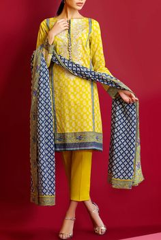 Buy Yellow Embroidered Cotton Lawn Dress by Khaadi Lawn Collection Pakistani Couture, Pakistani Outfits, Indian Outfits, Salwar Suits Simple, Eastern Dresses, Pakistani Designer Suits, Indian Fashion Trends, Kurti Neck Designs, Desi Wear