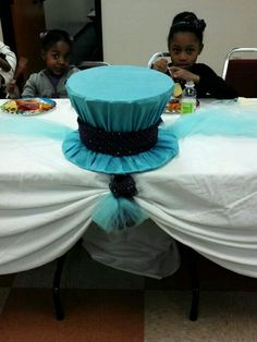 1st birthday party (Alice in Wonderland Tea Party theme) - Mad Hatter's Hat as the centerpiece