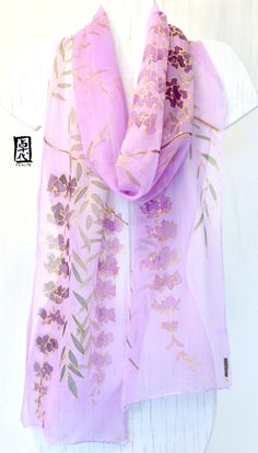 Hand Painted Silk Scarf Long Japanese Silk por SilkScarvesTakuyo, $125.00