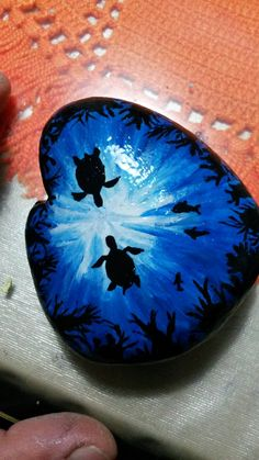 Seascape With Sea Turtles and Fish Painted Rock