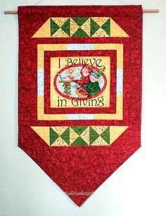 Christmas Wall Hanging Quilted Door Banner Red by RedNeedleQuilts