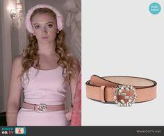 Chanel 3's pink crystal belt on Scream Queens.  Outfit Details: http://wornontv.net/51915/ #ScreamQueens