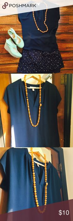 Night Blue Shirt This shirt was a personal favorite. It is simply too small on me now. It breaks my heart to sell it. The color is just so pretty. Excellent condition. Extremely versatile. Roz & Ali Tops Blouses