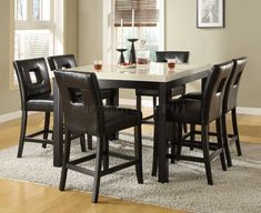 Black Counter Height Dining Table w/Faux Marble Top & Options