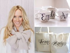 bridesmaid gifts (scarf by three birds nest, mugs by wanderlust, totes by paperflora via emmaline bride)