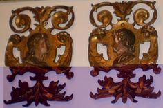Pareja de personajes , esponsales renacentistas, en madera policromada y dorada. Escuela Italiana Siglo XVI - XVII 41 x 27 cm.