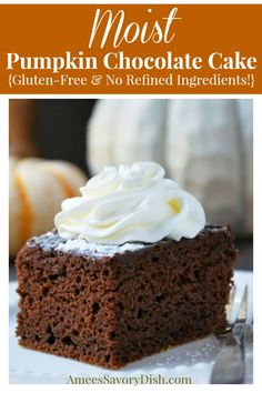 A moist and delicious gluten-free recipe for pumpkin chocolate cake made without refined ingredients Chocolate Pumpkin Cake, Gluten Free Chocolate Cake, Pumpkin Dessert, Chocolate Recipes, Cakes To Make, How To Make Cake, Cupcake Recipes, Cupcake Cakes, Dessert Recipes
