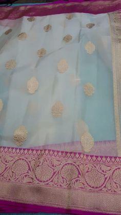 Pure Banarasi Handloom Kora Silk Saree With Blouse Silk Saree Banarasi, Kora Silk Sarees, Banaras Sarees, Indian Silk Sarees, Organza Saree, Silk Kurti, Cotton Saree, Kerala Saree Blouse Designs, Saree Blouse Neck Designs