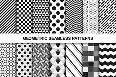 Geometric seamless patterns Graphics Collection of seamless geometric patterns. Black and white textures.Set contains:- 1 AI, 1EPS(10 by ExpressShop