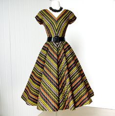 vintage 1950s dress ...fabulous ANNE FOGARTY chevron striped quilted full skirt pin-up party dress. $230.00 via Etsy.