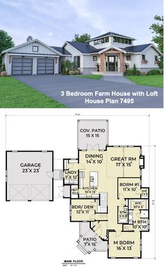 3 bedroom ranch farmhouse with loft: House Plan 7495 Dining Room Fireplace, Dining Nook, Garage Floor Plans, Covered Front Porches, Loft House, Island Kitchen, Farmhouse Plans, Walk In Pantry, Car Garage