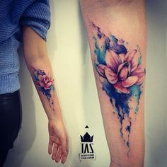 watercolor lotus by Rodrigo Tas | tattoo artist – Sao Paulo, Brazil