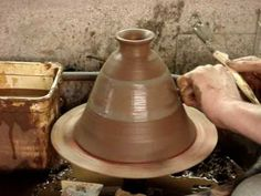 Making a clay pottery Tagine Moroccan Cooking Pot on the potters wheel throwing demo