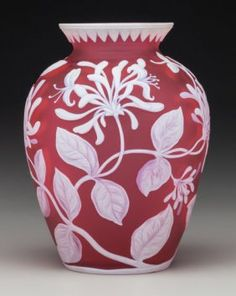 Thomas Webb & Sons Overlay Glass Floral Vase Cir