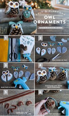 KIDS CRAFT - FELT & PINECONE OWL ORNAMENTS These cute little owls come with three different personalities and with this pattern you can mix and match to make your own little characters. #kidscraft #holidayornaments #diyornaments
