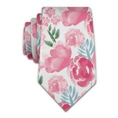 Watercolor Floral Necktie - Knotty Tie Co. Floral Crown, Floral Tie, Floral Design, Knotty Tie, Mens Wedding Ties, Pink Wedding Colors, Abstract Watercolor, Dusty Rose