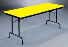 """Folding Table (18x60"""") in Yellow by Correll by Correll. $192.48. Color: Yellow. Yellow Correll furniture folding table has rectangular size choice, steel legs, for home or office use, automatic lock for safety. For heavy duty home, office, school, church, food service and commercial use . 0.75 in. high density particle board core with backer sheet . 1 in. 18 gauge steel pedestal legs . 1.625 in. one piece steel Apron . Mar-proof plastic foot caps and edge moldin..."""