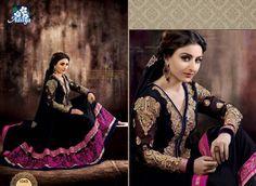 Beautiful Soha Ali Khan Black pure Georgette Semi stitched Anarkali Suit with lining @ Work: Embroidered, Resham Work Anarkali Lehenga, Saree, Desi Clothes, Indian Ethnic Wear, Indian Style, Salwar Kameez, Salwar Suits, Pakistani Dresses, Fashion Outfits