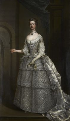 This portrait is one of the earliest and most impressive depictions of eighteenth century wedding wear. It shows Lady Frances Montagu in the bridesmaid's dress she wore to the 1734 wedding of George II's eldest daughter, Anne, the Princess Royal, to William IV, the Prince of Orange. The detail and complexity of the dress suggests us that the painting was commissioned as much to show the latest fashion as it was to show the sitter.