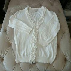 Selling this LOFT 3/4 sleeve white cardigan in my Poshmark closet! My username is: dcgirl2009. #shopmycloset #poshmark #fashion #shopping #style #forsale #LOFT #Sweaters