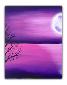 Full moon acrylic painting deep purple modern art home decor canvas, Christmas gift - Malerei Soft Pastel Art, Chalk Pastel Art, Chalk Pastels, Easy Canvas Painting, Diy Canvas Art, Purple Painting, Cute Paintings, Canvas Paintings, Painting Inspiration