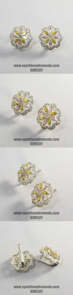 Sterling 925 silver earrings with 8 marquise 5×2,5 mm pink morganite color 8 marquise 5×2,5 mm golden beryl color and 32 round 1,25 mm white cubic zirconia gemstones.