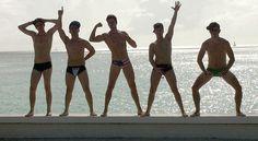 Big Time Rush: Kendall Schmidt, Carlos Pena, James Maslow, Logan Henderson, and Dustin Belt.