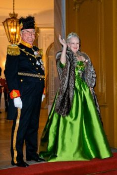 Queen Margrethe of Denmark and Prince Consort Henrik arrive for the annual 2014 New Years reception at Amalienborg Palace in Copenhagen, Denmark
