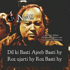 True Feelings Quotes, Truth Quotes, Urdu Quotes, Nfak Lines, Nusrat Fateh Ali Khan, Secret Love Quotes, Truths, Lyrics, Poetry