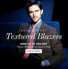 Save upto 70% on textured blazers at #BlueFly.