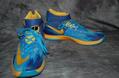 Nike Zoom Men's Shoes Trainers Sz 14 Blue Gold Sneakers #Nike #AthleticSneakers