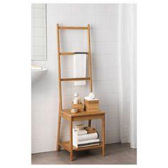RÅGRUND Chair with towel rack, bamboo - IKEA Bathroom Chair, Bamboo Bathroom, Towel Rack Bathroom, Bathroom Furniture, New Furniture, Rustic Furniture, Antique Furniture, Pool Bathroom, Outdoor Furniture