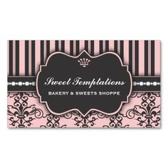 Elegant Pink Damask and Stripe Bakery Business Card. This great business card design is available for customization. All text style, colors, sizes can be modified to fit your needs. Just click the image to learn more! Bakery Business Cards, Business Cards Layout, Beauty Business Cards, Vintage Business Cards, Gold Business Card, Simple Business Cards, Business Card Design, Business Ideas, Pink Damask