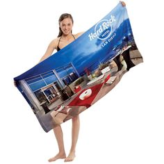 """Traveler's microfiber terry beach towel, 28"""" x 56"""". Ultra light, compact, and super absorbent beach towel. Printed edge to edge with full color photo process providing stunning detail and vibrant colors. Made of 100% microfiber polyester terry fabric. 6.5 lbs / doz."""