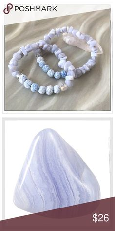 """✨Blue Lace Agate/Blue Coral Aroma Therapy Bracelet ✨Beautiful Blue Lace Coral Bracelet With Sustainably Harvested Blue Sponge Coral Accented With Czech Glass Aurora Borealis Beads✨Sponge Coral Is Far Superior To Lava Stone For Carrying Essential Oils✨These Bracelets Are Handmade and Not Mass Produced✨Size Small Fits 6.5-7"""" Wrist & Medium Fits 7-7.5""""✨These Bracelets Are Stunning And Also Contain The Healing Properties Of Blue Lace Agate✨🔴Read Comments🔴 Healing Stones And Crystals Jewelry…"""