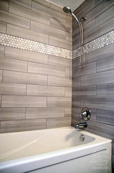 Love the tile choices. The marble hexagon accent tile … Love the tile choices. The marble hexagon accent tile (from Home Depot) √ Small Bathroom RemoA Master Bathroom RenovatEpisode Season 5 Budget Bathroom Remodel, Bath Remodel, Shower Remodel, Inexpensive Bathroom Remodel, Restroom Remodel, Bathroom Renos, Bathroom Renovations, Bathroom Showers, Bathroom Mirrors