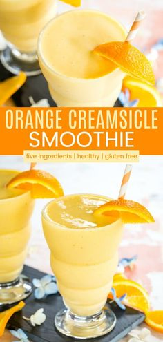 tiktok recipes Orange Creamsicle Smoothies - this fresh orange smoothie recipe has only five ingredients! Makes a healthy breakfast or snack, and the flavor will remind you of the Orange Julius or creamsicle popsicles you loved as a kid! Fresh Orange Smoothie Recipe, Orange Juice Smoothie, Smoothie Recipes With Yogurt, Easy Smoothies, Smoothie Detox, Fruit Recipes, Fruit Smoothies, Orange Julius Recipe With Oranges, Healthy Peach Smoothie