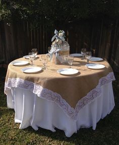 54 x 54 Inches - Burlap Lace-Edged Table Overlay / Tablecloth for Rustic Country Home Decor Table Linen, Parties, Event, Wedding, Reception
