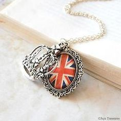All Things English - Union Jack and crown pendant
