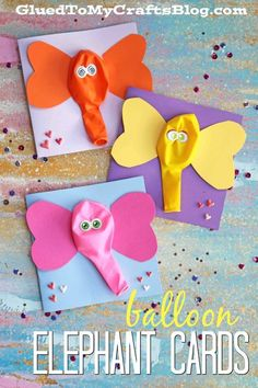 Silly and simple balloon elephant cards! A great craft for kids this summer! Simple craft for toddler or preschool age.