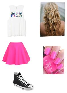 """pink"" by citylover101 ❤ liked on Polyvore featuring beauty, UNIF and Converse"