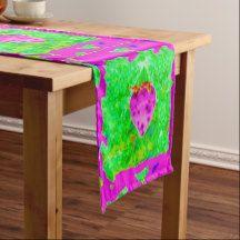 LUSCIOUS STRAWBERRY ART DESIGN TABLE RUNNER SHORT TABLE RUNNER