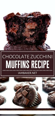 Satisfy your sweet tooth this Father's Day with Chocolate Zucchini Muffins! This dessert idea is easy to make and great for a vegan diet. Every delectable bite of these moist and rich treats will leave you craving for more! Save this recipe and try it on Father's Day! Gourmet Desserts, Homemade Desserts, Best Dessert Recipes, Desert Recipes, Easy Desserts, Delicious Desserts, Plated Desserts, Zucchini Desserts, Zucchini Muffin Recipes